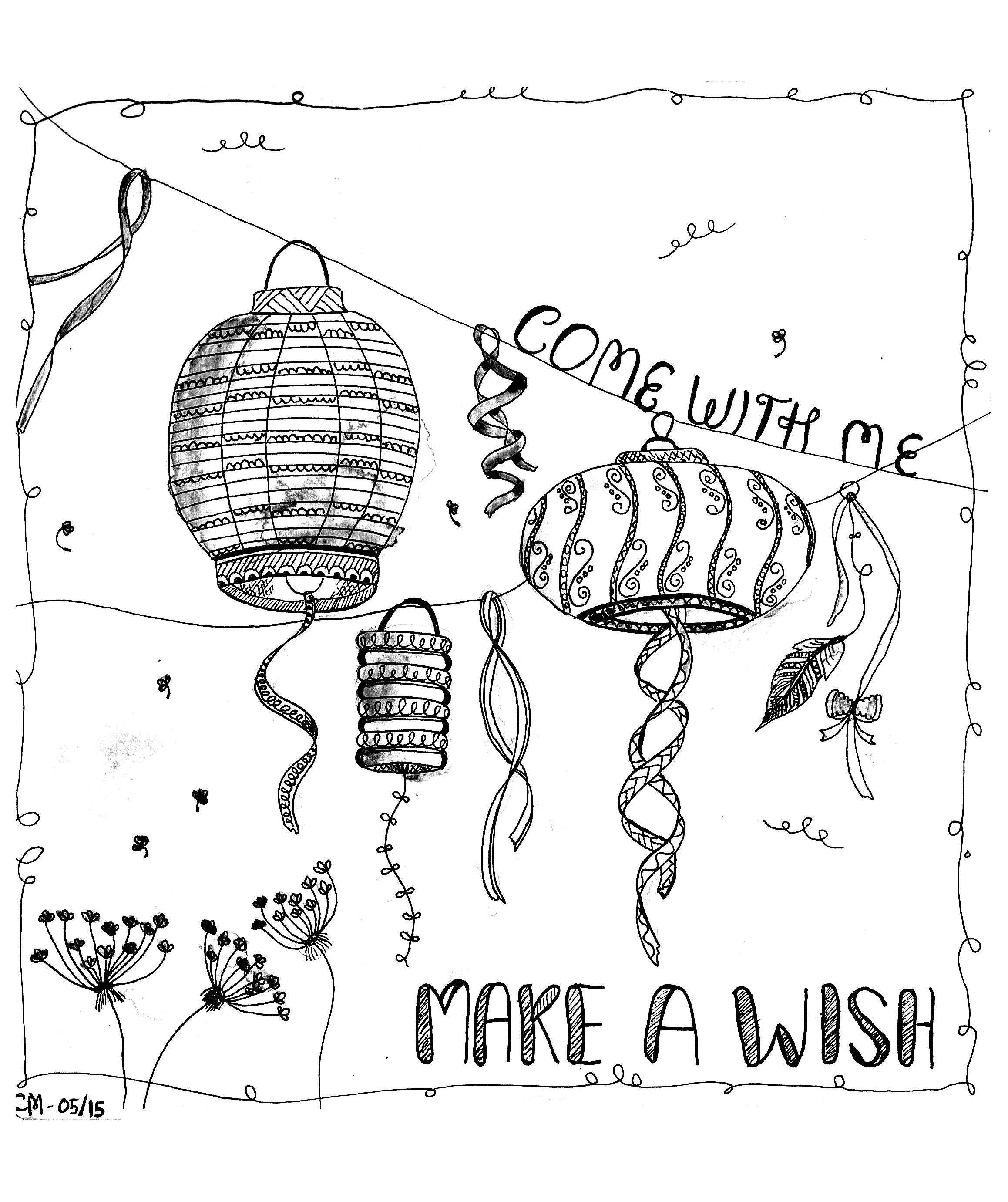 'Fais un vœu', coloriage original  Voir l'oeuvre originaleA partir de la galerie : Chine AsieArtiste : Cathy M