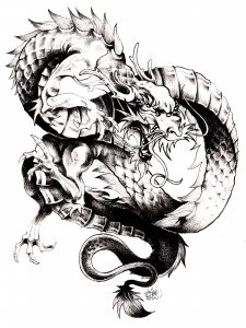 coloriage-adulte-dragon-chine free to print