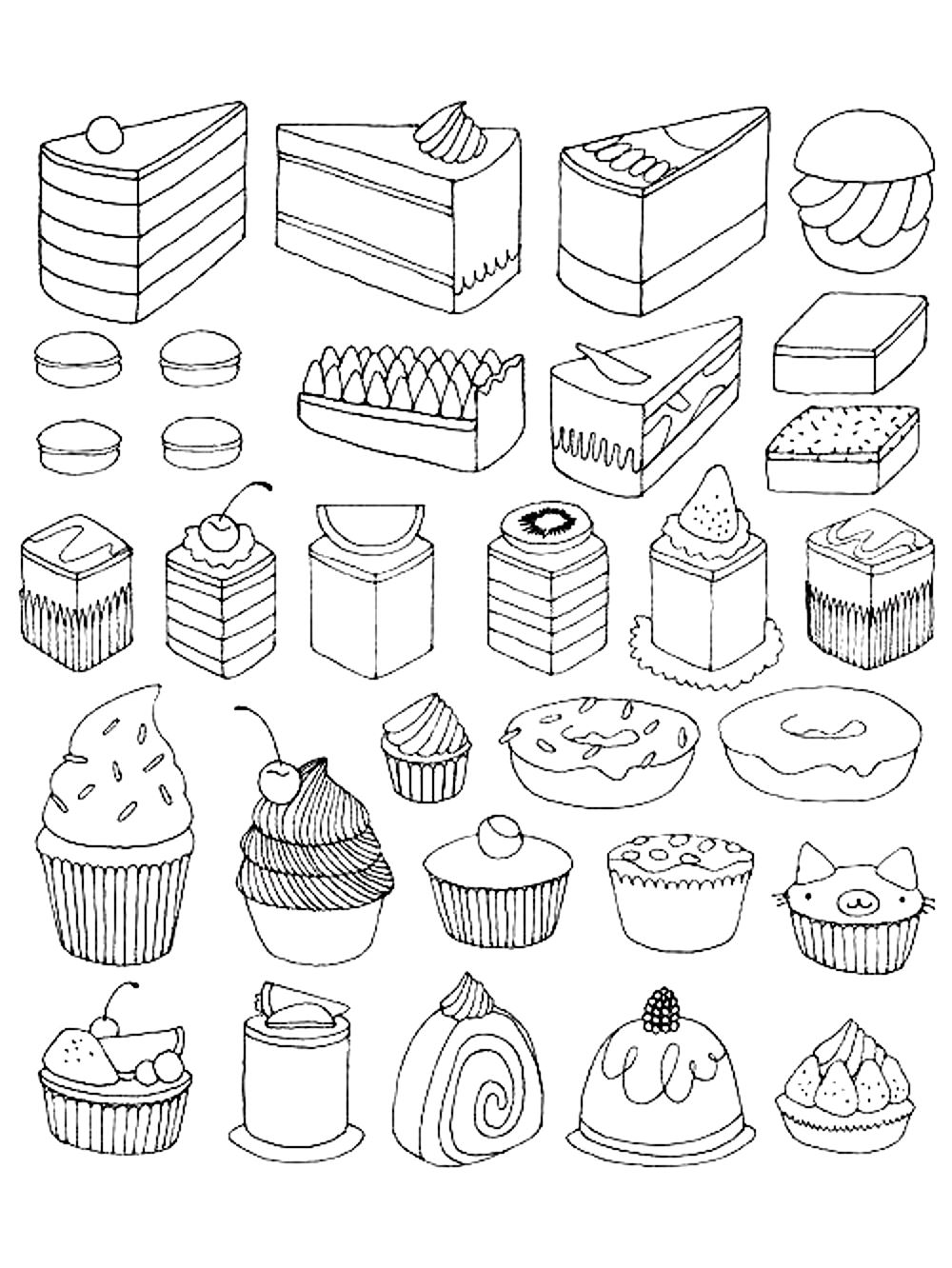 Cupcake Coloring Pages For Adults : Cup Cakes - Coloriages difficiles pour adultes : coloriage ...