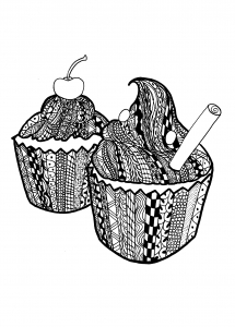 coloriage-adulte-cupcakes-zentangle-celine free to print