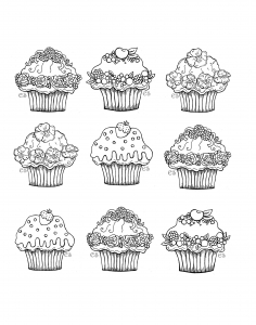 coloriage-a-imprimer-jolis-cupcakes free to print