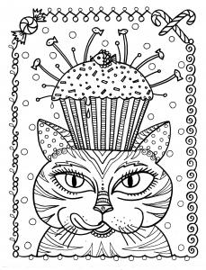 coloriage-adulte-chat-cup-cake-par-deborah-muller free to print