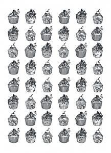Coloriage-adulte-cupcakes-difficile-Celine free to print
