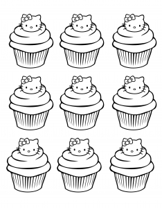 coloriage-cupcakes-hello-kitty-simple free to print
