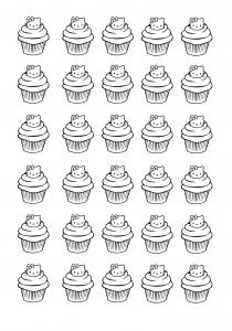 coloriage-cupcakes-hello-kitty free to print