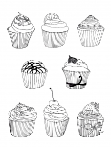coloriage-gratuit-cupcakes free to print