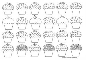 coloriage-mosaique-cupcakes-enfantins free to print