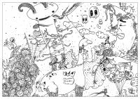 coloriage-adulte-dessin Doodle nouveau monde-par-valentin free to print