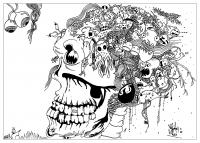 coloriage-adulte-dessin Doodle tete de mort-par-valentin free to print