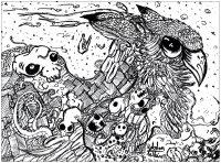 coloriage-adulte-dessin-Doodles hibou -par-valentin free to print