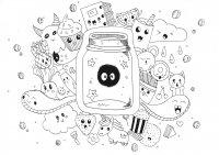 coloriage-adulte-kawaii-doodle-rachel free to print