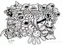 coloriage-doodle-monstres-par-bon-arts free to print
