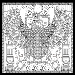coloriage-adulte-egypte-aigle-style-egyptien-avec-symboles-par-kchung free to print