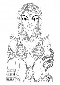 coloriage-adulte-egypte-cleopatre-par-bimdeedee free to print