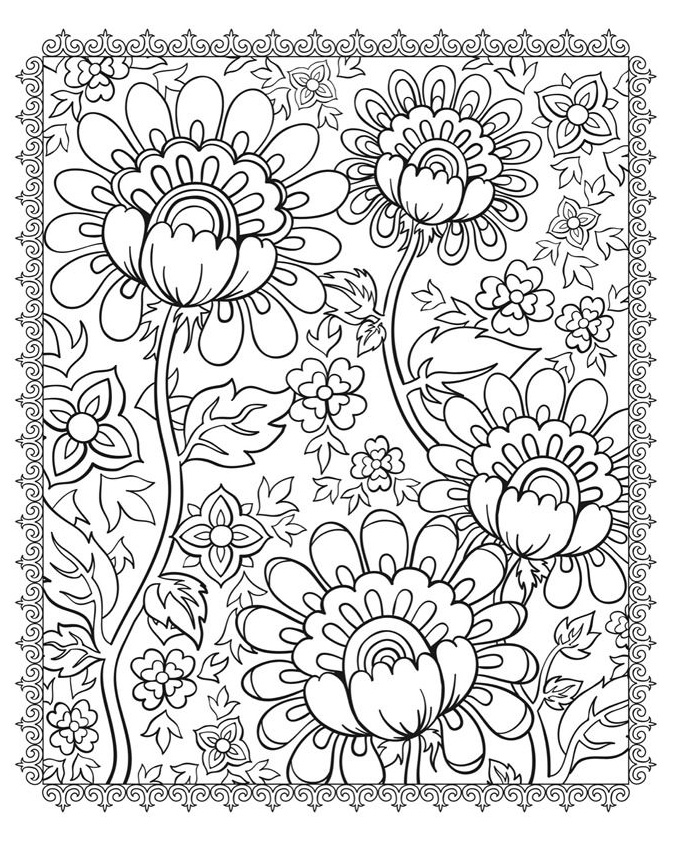 coloriage,adulte,cinq,fleurs free to print