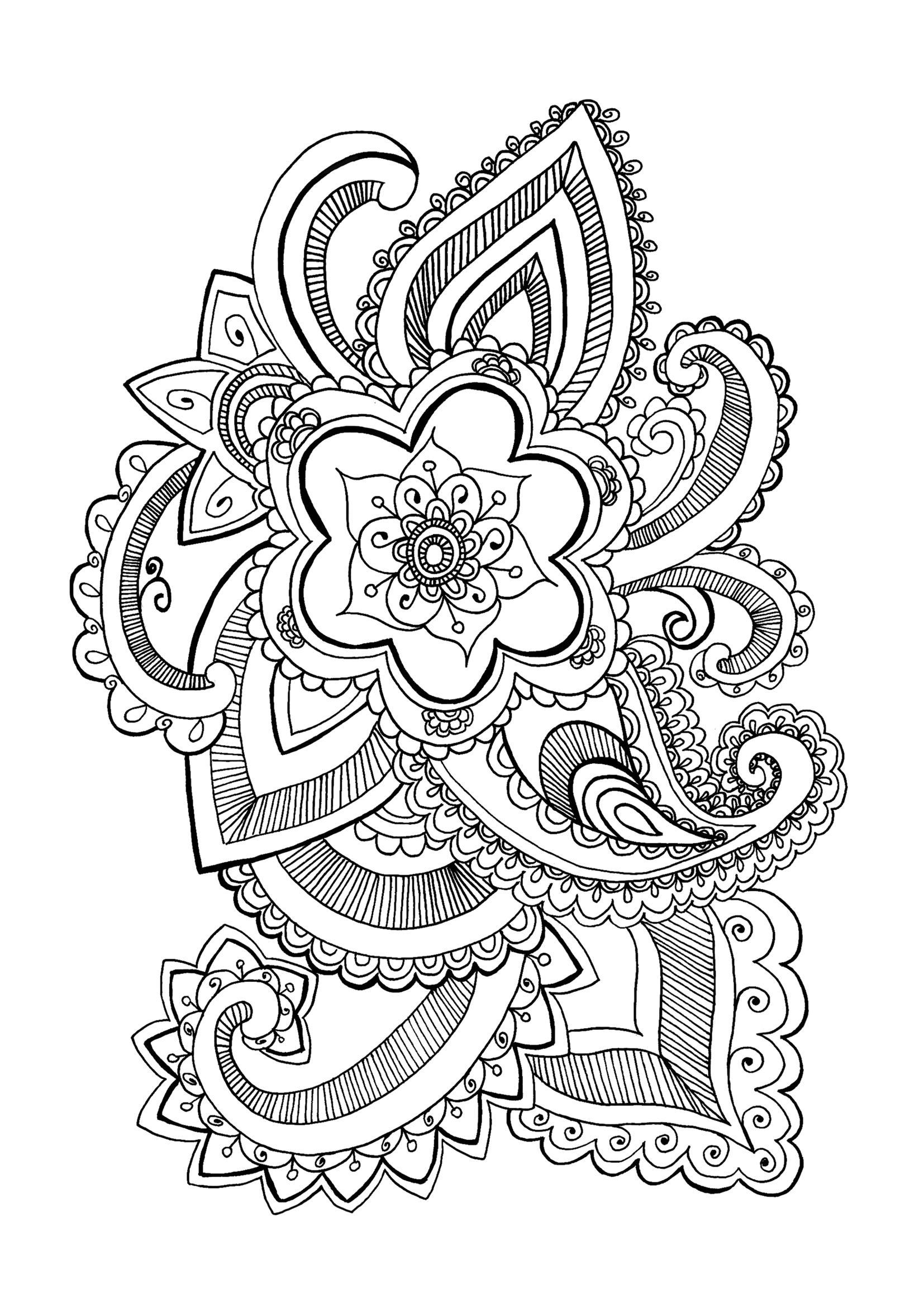 Fleurs et v g tation coloriages difficiles pour adultes - Coloriage mandala printemps ...