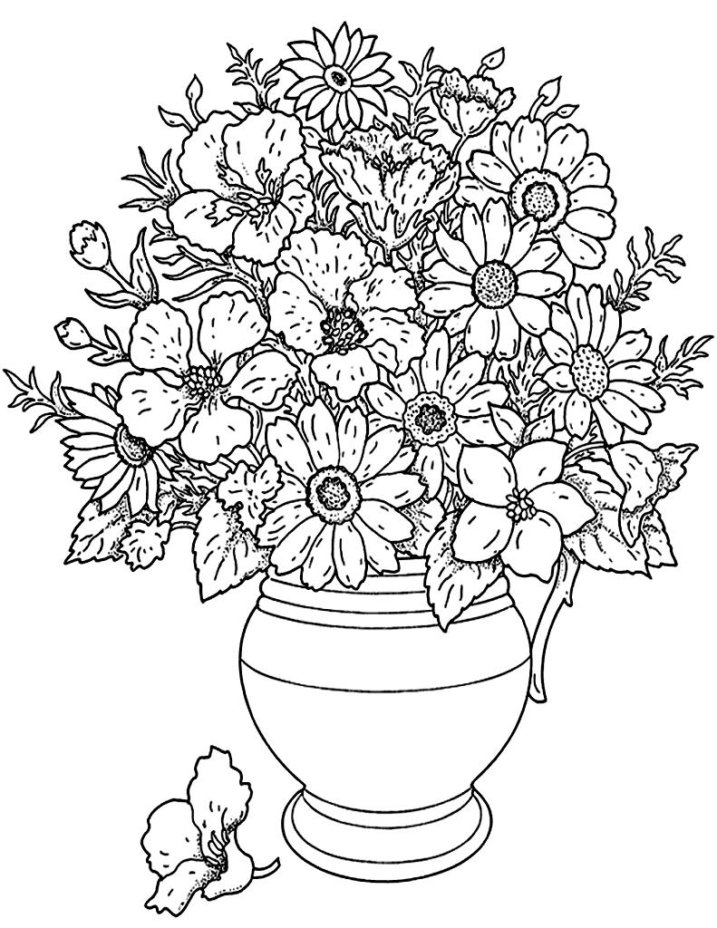 Un beau bouquet de fleurs cueillies dans le jardin, à colorier ou peindreA partir de