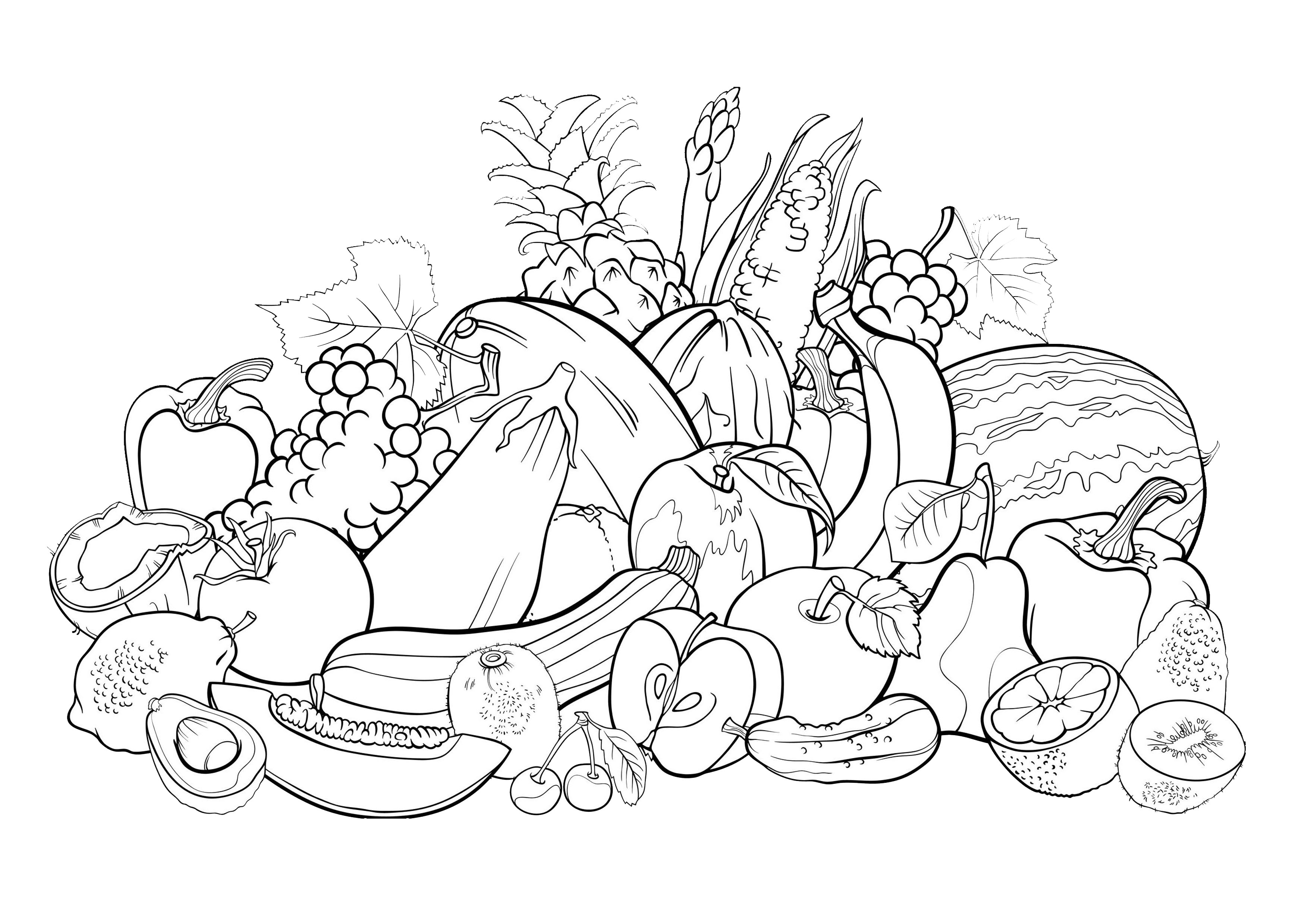 coloriage,adulte,fruits free to print