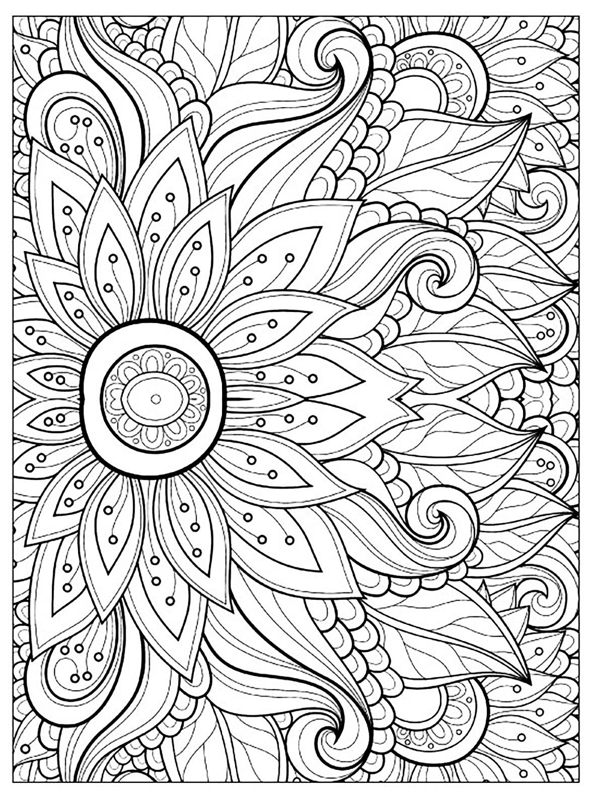 Fleurs et v g tation coloriages difficiles pour adultes coloriage fleur multiples petales - Coloriage fleur 8 petales ...