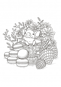 coloriage-adultes-fruits-macarons free to print
