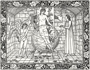 coloriage-adulte-dessin-par-edward-burne-jones-from-a-partir-de-geoffrey-chaucer-Hammersmith-1896 free to print