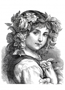 coloriage-adulte-flower-girl-1868 free to print