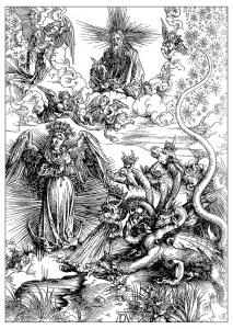 coloriage-adulte-gravure-albrecht-durer-la-femme-de-lapocalypse-vers-1497 free to print
