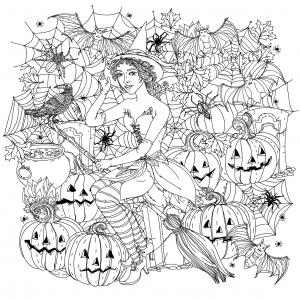 coloriage-halloween-sorciere-avec-citrouilles-par-mashabr free to print