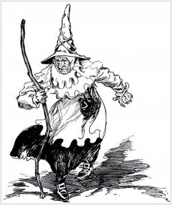 coloriage-halloween-sorciere-effrayante-dans-ancienne-illustration free to print