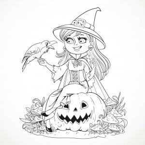 coloriage-halloween-sorciere-souriante-et-corbeau-par-azuzl free to print
