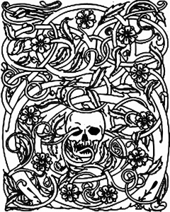 coloriage-halloween-squelette-et-ronces free to print