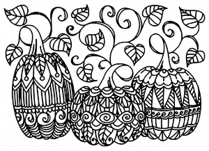coloriage-halloween-trois-citrouilles free to print
