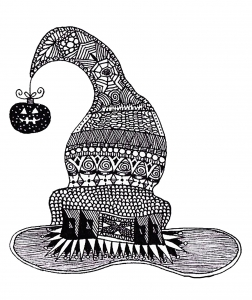 coloriage-halloween-zentangle-sorciere-au-chapeau free to print