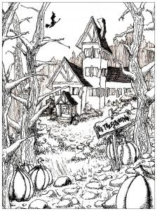 coloriage-maison-hantee-et-citrouille-d-halloween free to print
