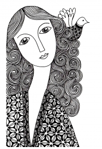 coloriage-femme-simple free to print
