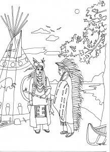 coloriage-adulte-deux-indiens-d-amerique-par-marion-c free to print