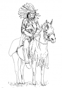 coloriage-adulte-indien-sur-son-cheval free to print