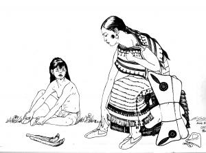 coloriage-adulte-indienne-et-enfant free to print