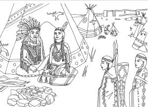 coloriage-adulte-indiens-amerique-assis-devant-tipi-par-marion-c free to print