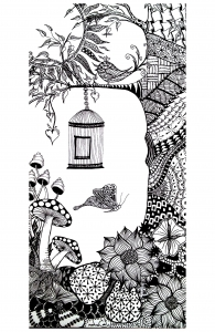 coloriage-adulte-animaux-papillon-oiseau free to print
