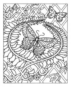 coloriage-difficile-papillon free to print