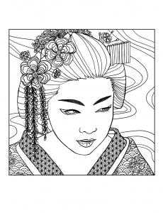 coloriage-adulte-geisha-visage-par-mizu free to print