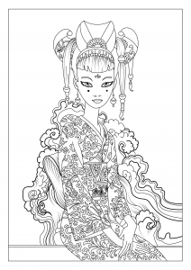 coloriage-adulte-japon-celine-1 free to print