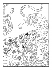 coloriage-adulte-japan-tigre-celine free to print