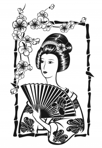 coloriage-adulte-japonaise-avec-evantail-par-Krystsina-Birukova free to print