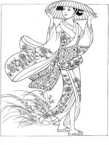 coloriage-japonaise-avec-chapeau free to print