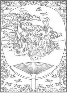 coloriage-scene-de-vie-traditionnelle-japon free to print