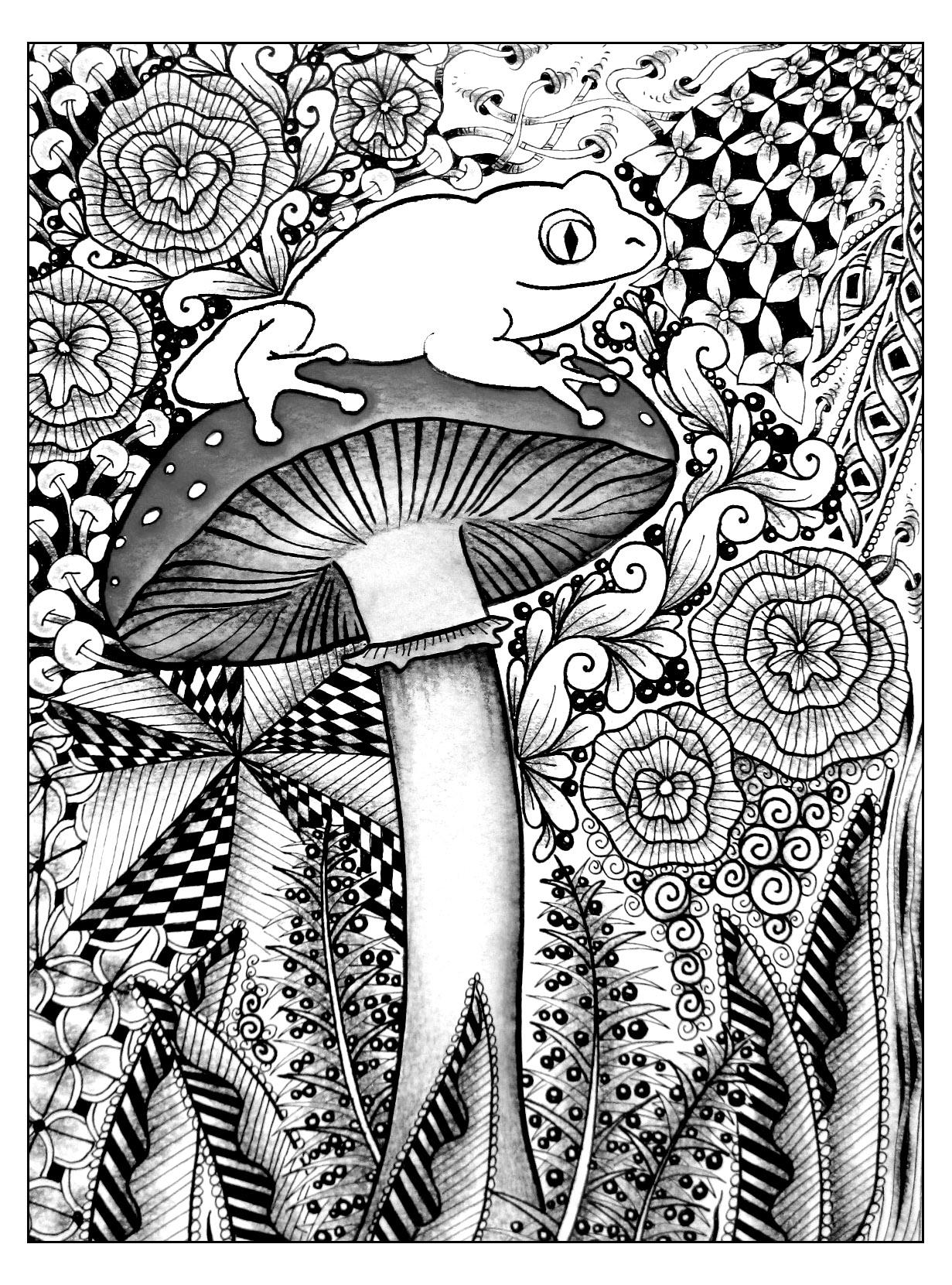 Dans cette forêt se cache une belle grenouille ... Beau coloriage en perspectiveA partir de la galerie : Jungle Et Foret