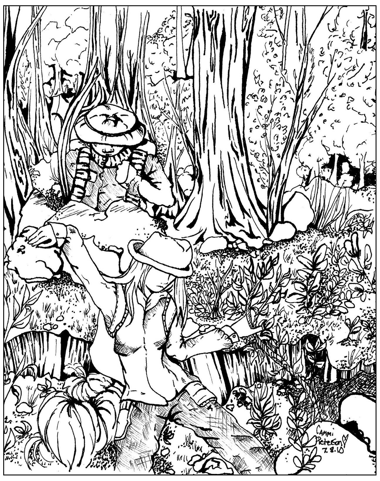 Ce coloriage pourrait s'appeler 'Perdus dans la forêt !'A partir de la galerie : Jungle Et Foret