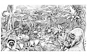 coloriage-jungle-foret-animaux free to print